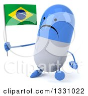 Clipart Of A 3d Unhappy Blue And White Pill Character Walking Slightly Left And Holding A Brazilian Flag Royalty Free Illustration
