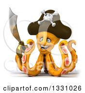 Clipart Of A 3d Happy Orange Pirate Octopus Holding A Sword Royalty Free Illustration