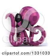 Clipart Of A 3d Happy Purple Octopus Wearing Sunglasses And Looking Around A Sign Royalty Free Illustration by Julos