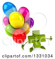 Clipart Of A 3d Happy Green Naturopathic Cross Character Holding Up A Thumb And Party Balloons Royalty Free Illustration