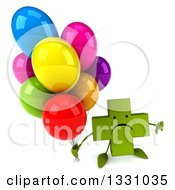 Clipart Of A 3d Unhappy Green Naturopathic Cross Character Holding Up A Thumb Down And Party Balloons Royalty Free Illustration
