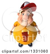 Clipart Of A 3d High View Of A Sad Chubby White Guy In A Yellow Beer Shirt Royalty Free Illustration