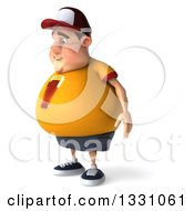 Clipart Of A 3d Sad Chubby White Guy In A Yellow Beer Shirt Facing Left Royalty Free Illustration