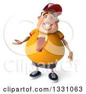 Clipart Of A 3d Chubby White Guy In A Yellow Beer Shirt Presenting Royalty Free Illustration