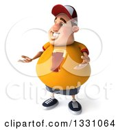 Clipart Of A 3d Chubby White Guy In A Yellow Beer Shirt Presenting 2 Royalty Free Illustration