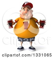 Clipart Of A 3d Chubby White Guy In A Yellow Shirt Holding Beer Glasses Royalty Free Illustration