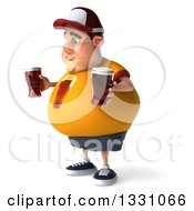 Clipart Of A 3d Sad Chubby White Guy In A Yellow Shirt Facing Left And Holding Beer Glasses Royalty Free Illustration