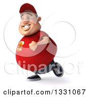 Clipart Of A 3d Chubby White Guy In A Red Burger Shirt Running To The Left Royalty Free Illustration by Julos