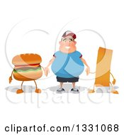Clipart Of A Cartoon Happy Fat White Guy Holding Hands With A Hamburger And French Fry Royalty Free Illustration