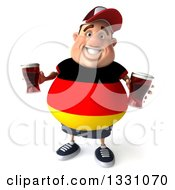 Clipart Of A 3d Chubby German Man Looking Up And Holding Beer Royalty Free Illustration by Julos