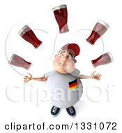 Clipart Of A 3d Sad Chubby White Guy In A Gray German Flag Shirt Looking Up And Juggling Beer Royalty Free Illustration by Julos