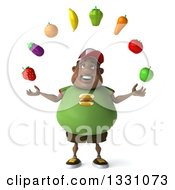 Clipart Of A 3d Happy Chubby Black Man In A Green Burger Shirt Juggling Produce Royalty Free Illustration by Julos