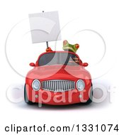 Clipart Of A 3d Green Business Springer Frog Holding A Blank Sign And Driving A Red Car Royalty Free Illustration