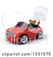 Clipart Of A 3d Green Business Springer Frog Holding A Blank Sign And Driving A Red Car 2 Royalty Free Illustration