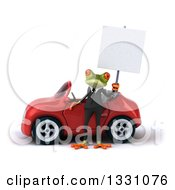 Clipart Of A 3d Green Business Springer Frog Holding A Blank Sign And Standing By A Red Car Royalty Free Illustration