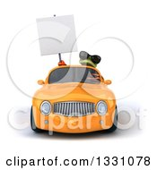 Clipart Of A 3d Green Business Springer Frog Wearing Sunglasses Holding A Blank Sign And Driving A Yellow Car Royalty Free Illustration