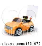 Clipart Of A 3d Green Business Springer Frog Wearing Sunglasses Holding A Blank Sign And Driving A Yellow Car 2 Royalty Free Illustration
