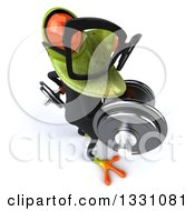 Clipart Of A High View Of A 3d Bespectacled Green Business Springer Frog Working Out Facing Right And Doing Bicep Curls With Dumbbells Royalty Free Illustration