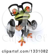 Clipart Of A 3d Bespectacled Green Business Springer Frog Working Out Looking Up And Doing Bicep Curls With Dumbbells Royalty Free Illustration
