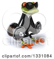 Clipart Of A 3d Green Business Springer Frog Wearing Sunglasses Facing Slightly Right Working Out Doing Squats With Dumbbells Royalty Free Illustration