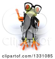 Clipart Of A 3d Bespectacled Green Business Springer Frog Sitting In A Wheelchair And Giving A Thumb Up Royalty Free Illustration