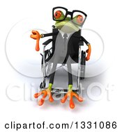 Clipart Of A 3d Bespectacled Green Business Springer Frog Sitting In A Wheelchair And Giving A Thumb Down Royalty Free Illustration