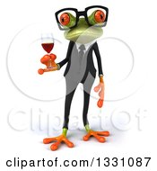 Clipart Of A 3d Bespectacled Green Business Springer Frog Holding A Glass Of Red Wine Royalty Free Illustration