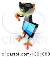 Clipart Of A 3d Green Business Springer Frog Wearing Sunglasses Facing Left Holding And Pointing To A Tablet Computer Royalty Free Illustration