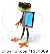 Clipart Of A 3d Green Business Springer Frog Wearing Sunglasses Facing Left And Holding A Tablet Computer Royalty Free Illustration