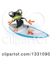 Clipart Of A 3d Green Business Springer Frog Wearing Sunglasses Looking Up And Surfing Royalty Free Illustration
