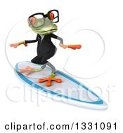 Clipart Of A 3d Bespectacled Green Business Springer Frog Surfing Royalty Free Illustration