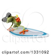 Clipart Of A 3d Green Business Springer Frog Wearing Sunglasses Drinking A Beverage And Surfing 2 Royalty Free Illustration