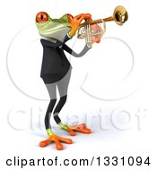 Clipart Of A 3d Green Business Springer Frog Facing Right And Playing A Trumpet Royalty Free Illustration
