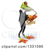 Clipart Of A 3d Green Business Springer Frog Facing Right And Playing A Trumpet 2 Royalty Free Illustration