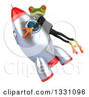 Clipart Of A 3d Green Business Springer Frog Flying Up To The Left With A Rocket Royalty Free Illustration