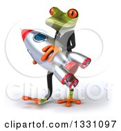 Clipart Of A 3d Green Business Springer Frog Walking To The Left And Carrying A Rocket Royalty Free Illustration