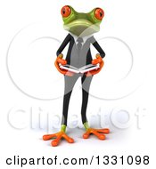 Clipart Of A 3d Green Business Springer Frog Holding An Open Book Royalty Free Illustration