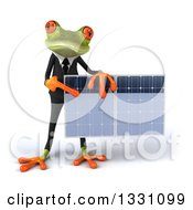 Clipart Of A 3d Green Business Springer Frog Holding And Pointing To A Solar Panel Royalty Free Illustration