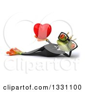 Clipart Of A 3d Bespectacled Green Business Springer Frog Prince Resting On His Side And Holding A Red Love Heart Royalty Free Illustration