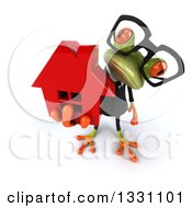 Clipart Of A 3d Bespectacled Green Business Springer Frog Holding Up A Red House Royalty Free Illustration