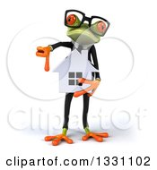 Clipart Of A 3d Bespectacled Green Business Springer Frog Holding A House And Thumb Down Royalty Free Illustration