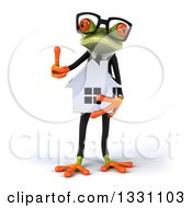 Clipart Of A 3d Bespectacled Green Business Springer Frog Holding A House And Thumb Up Royalty Free Illustration