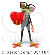 Clipart Of A 3d Bespectacled Green Business Springer Frog Holding A Heart Royalty Free Illustration