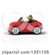 Clipart Of A 3d Green Business Springer Frog Driving A Red Car Royalty Free Illustration