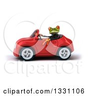 Clipart Of A 3d Green Business Springer Frog Driving A Red Car 2 Royalty Free Illustration