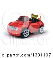 Clipart Of A 3d Green Business Springer Frog Giving A Thumb Up And Driving A Red Car Royalty Free Illustration