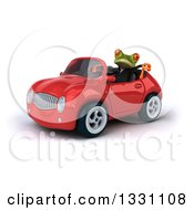 Clipart Of A 3d Green Business Springer Frog Giving A Thumb Down And Driving A Red Car Royalty Free Illustration