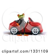 Clipart Of A 3d Green Business Springer Frog Shrugging By A Red Car Royalty Free Illustration
