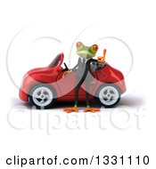 Clipart Of A 3d Green Business Springer Frog Giving A Thumb Up By A Red Car Royalty Free Illustration