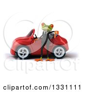 Clipart Of A 3d Green Business Springer Frog Giving A Thumb Down By A Red Car Royalty Free Illustration
